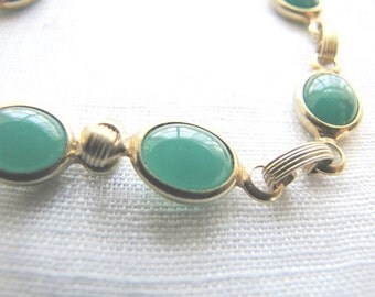 Gold Link Bracelet Green Stones Vintage Estate Jewelry from AllieEtCie