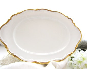 Antique White and Gold Serving Platter Elegant Oval Platter from AllieEtCie