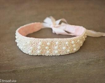 Newborn Headband, Ivory and Pink Headband, Newborn Pearl Headband, Baby Headband, Newborn Props, RTS, Silk,  White Pearl Headband