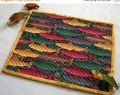 CIJ SALE Fishing Mug Rug Snack Mat Coaster Salmon Quiltsy Handmade Quilted FREE U.S. Shipping
