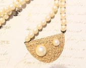 1960s Baroque Pearl Vintage Necklace Textured Gold Mod Vintage Jewelry