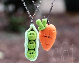 Peas and Carrots Handmade in Polymer Clay, Best Friend Necklace Set, Pea Necklace, Carrot Necklace