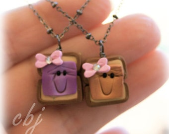 Best Friend Charms Peanut Butter and Jelly, BFF, handmade out of polymer clay