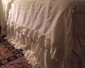 Romantic Linen Bedding--Washed Linen Bedding Set----Twin-Full-Queen-King---Long Ruffled Duvet and Torn Ruffle Bed Skirt-Velvet Ribbon Trim