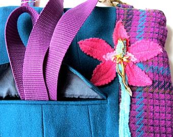 Crossbody bag, purple purse, shoulder bag, turquoise purse, iPad case, front pocket, long strap, zipper