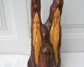Free Shipping Acquaintances Wood Spirit Santa Wood Carving