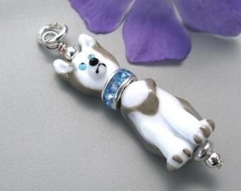 Husky Dog Pendant jewelry handmade lampwork glass dog bead