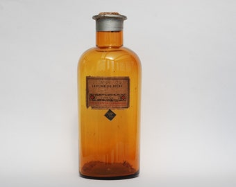 Apothicary glass bottle, Antique amber glass bottle, Chemistry bottle with stopper and label
