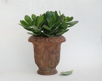 French antique cast iron planter, Cottage garden decor, Outdoor vase