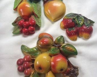 Vintage Chalkware Wall Fruit Handpainted