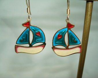 1989 Sailboat Stain Glass Like Earrings.