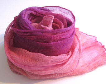 Ombre, Crinkle Chiffon Scarf, Hand-dyed , Hand-painted , Pink, Fuschia , Raspberry