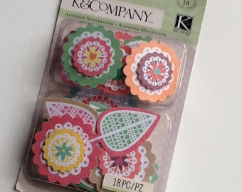 CHRISTMAS IN JULY Floral Doilies Layered Scrapbook Sticker Embellishments from K&Company