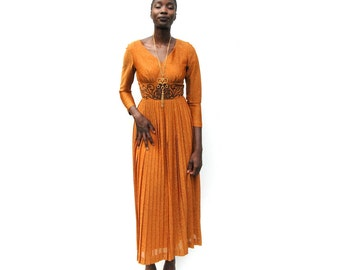 Rust with gold shimmer long sleeve maxi formal dress goddess cocktail dress 1970s 70s