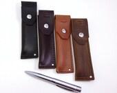 Leather Pen Case, Men's Personalized Pen Holder, Monogrammed Gift, Custom Leather Accessories, Single Pen Sleeve, Teacher Gift