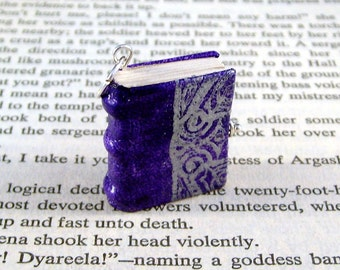 Miniature Book Necklace Charm Ornate Silver Embossed Leather Book Charm Purple