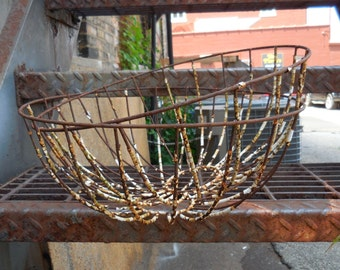 Two vintage Wire baskets  flower planters Chippy shabby French Country Garden Home
