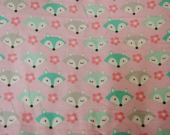 Flannel pants pajama dorm lounge made to order your choice size XS - 2X teal and grey foxes with flowers on a baby pink background