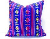 Blue Pillow, Tribal Pillows Covers, Colorful Pillow Covers, Bohemian Decor, Boho Bedding, Mexican Cushion, Square, tribal pillowcase