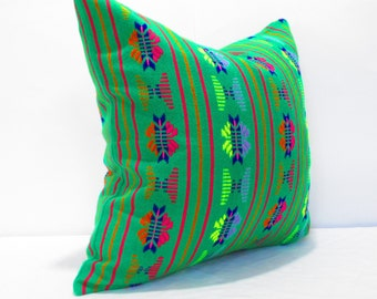 Green Pillow, Tribal Pillows Covers, Colorful Pillow Covers, Bohemian Decor, Boho Bedding, Mexican Cushion, Square, tribal pillowcase
