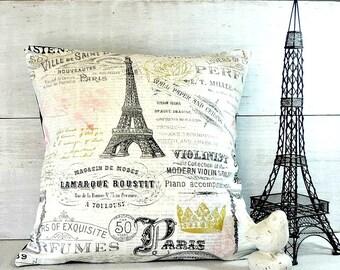 Eiffel Tower, Fleur De Lis Pillow Cover, Paris, French, Shabby Chic Cottage