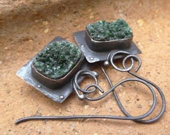 Dark Green Small Druzy Rustic Copper Earrings