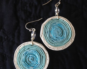 AQUA & WHITE Round coiled recycled paper pierced earrings with glass beads #8