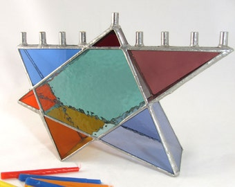 Stained Glass Star of David Chanukah Menorah hand crafted of Rainbow Color Translucent glass