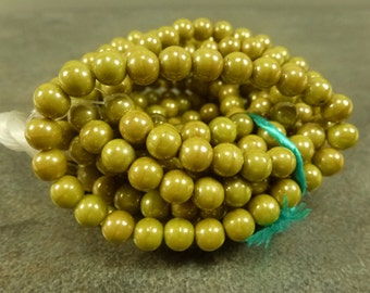 Mustard Luster Czech Glass Druk Beads 6mm 30pc Smooth Round
