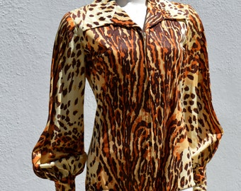 Vintage 60's leopard bodysuit one piece playsuit FAUX leopard animal print burlesque MOD pin up M by thekaliman