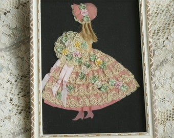 Antique Ribbon Work Girl Picture Sunbonnet French Silk