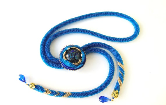 Long lariat necklace knitted beaded blue lampwork beads pearl brooches