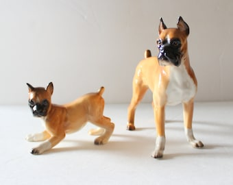 Vintage 60s Set of Two Shafford Blue Ribbon Ceramic Boxer Dog Figurines