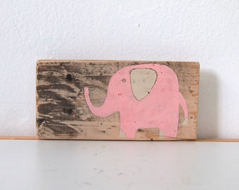 Baby Elephant Sign in Reclaimed Wood - Rustic Children's Room Artwork - Handpainted Original Nursery Art - Ivory and Soft Pink