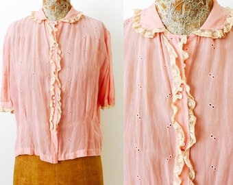 Vintage 1920s silk top/lace trim/Peter pan collar/mother of pearl buttons