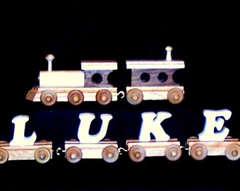 3 to 9 Letter Personalized Name Train Handmade n USA with Natural Wood Letters