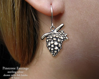 Pine cone  Earrings Sterling Silver Hand Carved & Cast Fish Hook or Post Tree Pinecone
