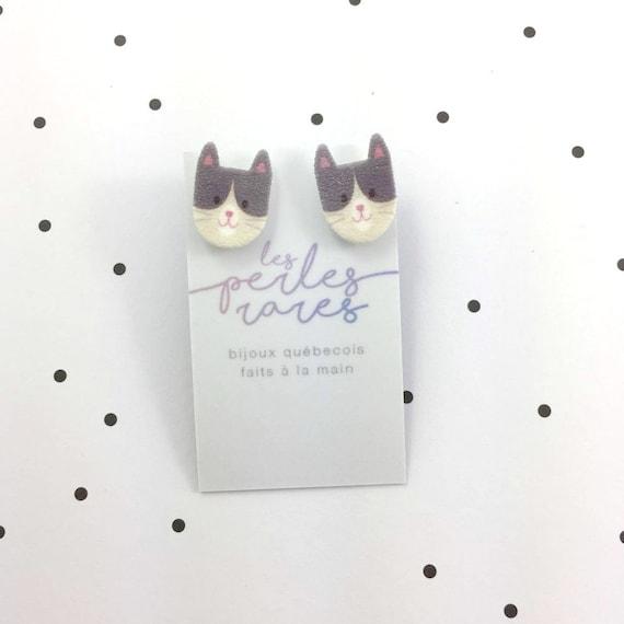 Small, cat, grey, white, head, earrings, plastic, stainless stud, handmade, les perles rares