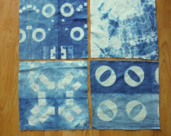 Indigo SHIBORI quilt cotton squares sewing crafts home decor hand dyed art fabric from MyGypsyCottage on Etsy