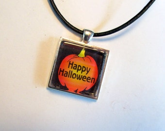Halloween Pendant Necklace with Black Leather Cord Necklace, Halloween Jewelry, Halloween Necklace, Pumpkin Necklace