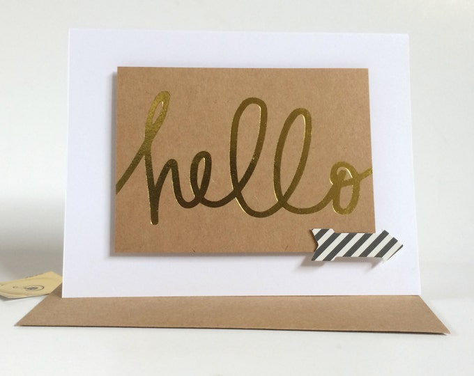 Hello Card, Elegant, Gold Embellished Card, made on recycled paper, comes with envelope and seal