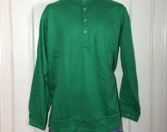 Deadstock 1960's all cotton Nehru Collar Shirt size Large NOS Henley neck Long sleeve t-shirt Green #2
