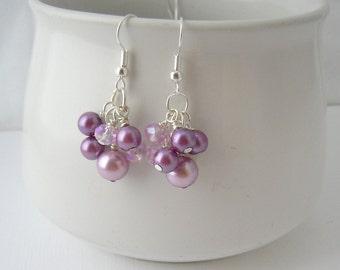 Purple Pearl Earrings, Purple Bridesmaid Jewelry, Pearl Cluster Earrings, Bridesmaid Gift, Purple Lavender Wedding