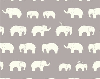 Organic DOUBLE GAUZE Fabric - Elephant Family Shroom