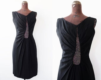 1950's rhinestone teardrop wiggle dress / cocktail party dress
