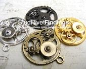 4 pcs wheel gear steampunk Charms Pendant