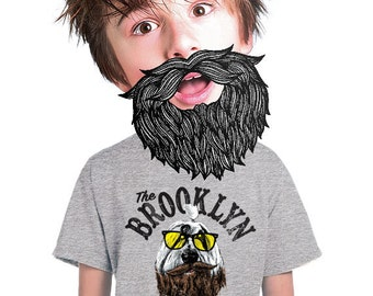 boys brooklyn shirt for boys hip cool ny style hipster funny dog t-shirt for kids fun tee for dog lovers lasie beard t-shirt youth s-xl