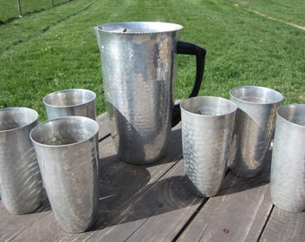 Mid-Century Hammered Aluminum Pitcher and 6 Cup Set from MMM Spain - Madrid Metal Manufacturer