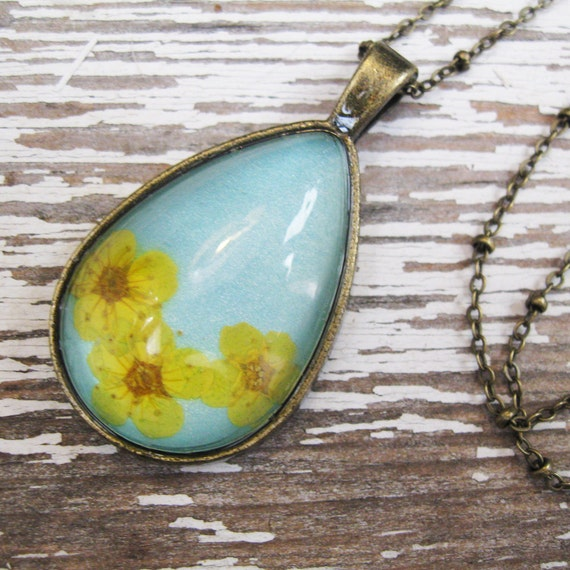 Real Pressed Flowers Teardrop Necklace - Yellow Spring Flowers and Teal in Antique Brass
