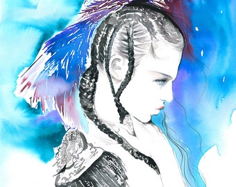 Fashion Illustration Print, Fashion Ink sketch, Fashion Wall Art, Fashion Poster, Fashion Watercolor, Fashion Art
